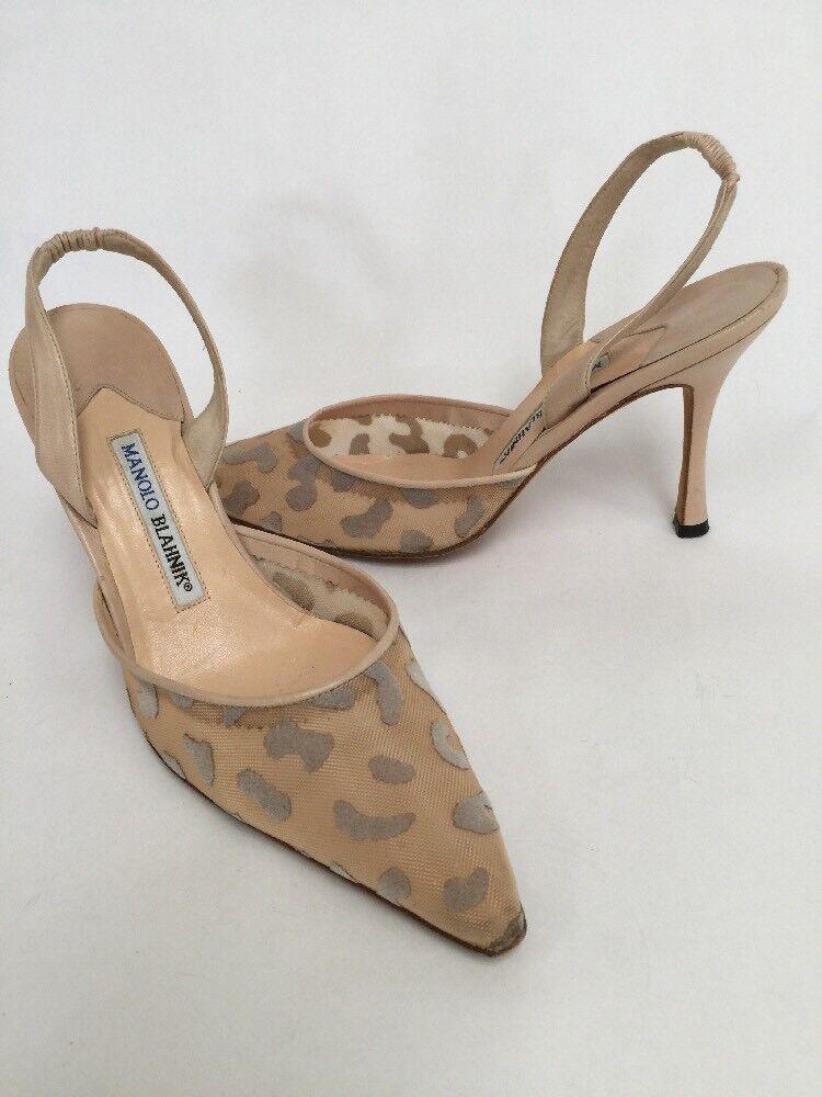 Manolo Blahnik Nude Mesh Leopard Slingback High Heels Size 38.5 FAB
