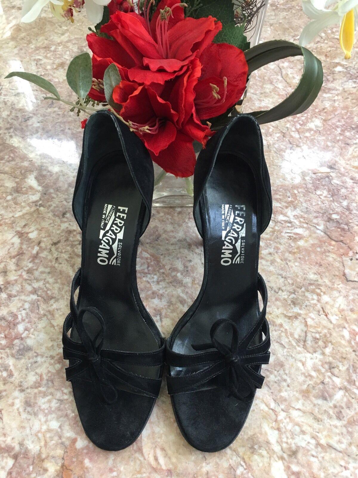 Salvatore Ferragamo Black Suede Leather Open Toe Pump Sandal shoes US Size 8 B