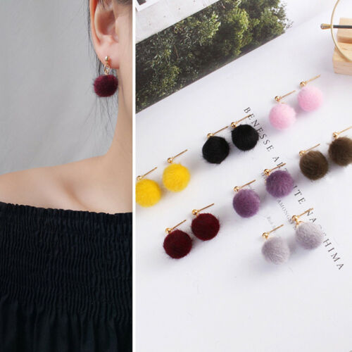 AM/_ Fashion Women Jewelry Pom Pom Ball Drop Pendant Charm Stud Earrings Gift Stu