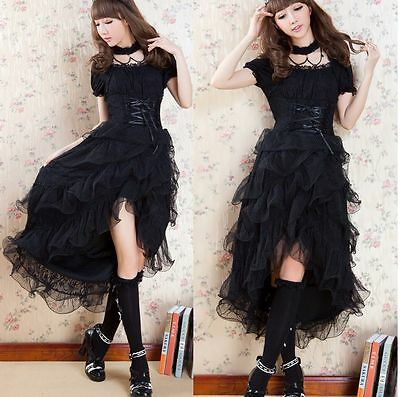 Dolly Kawaii GOTHIC PUNK LOLITA ALICE swallow tail DRESS +CHOKER S-L 81137 Black