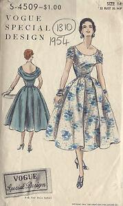 ffa8db35096c Image is loading 1954-VOGUE-Vintage-Sewing-Pattern-B32-034-DRESS-