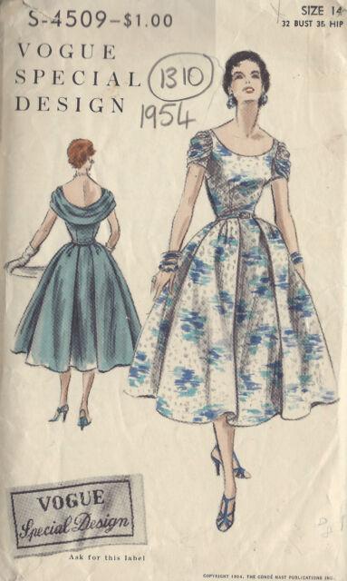 "1954 VOGUE Vintage Sewing Pattern B32"" DRESS (1310)"