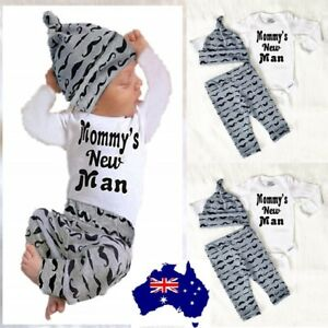 3PCS Set Newborn Baby Boy Clothes Lovely Mommy's New Man Mustache Print Bodysuit