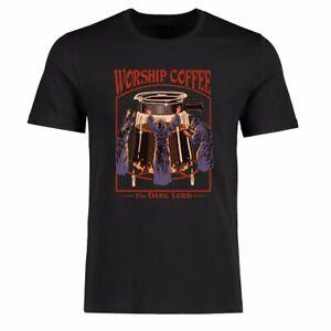 Men's Funny T-shirt's Worship Coffee Graphic Tee Shirt Cotton Short Sleeve top