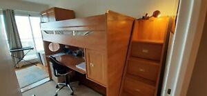 lit mezzanine bureau Gautier en bois une personne