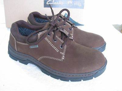 NEW CLARKS PADLEY LACE GORETEX BLACK LEATHER STRONG SOLE SHOES SIZE 6,7.5,7,6.5