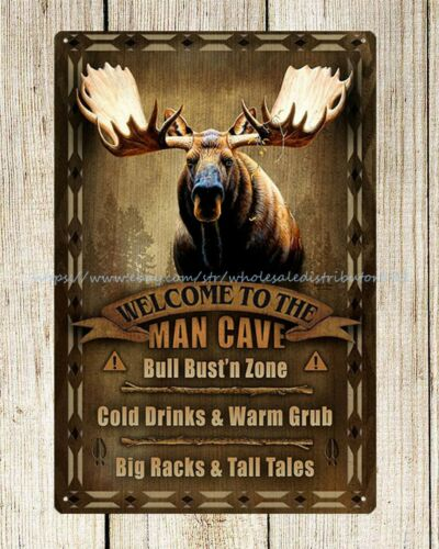 man cave moose metal tin sign garden reproductions for home