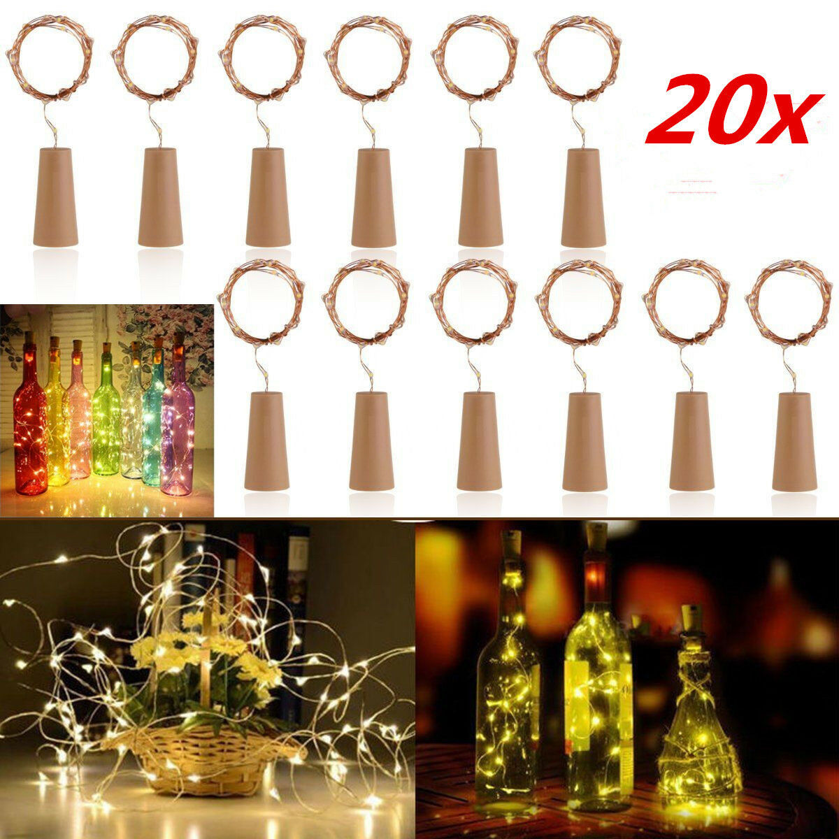 10X 20 LED Lichterkette mit Girlande Efeugirlande Künstlich Rebe Hochzeit Garten