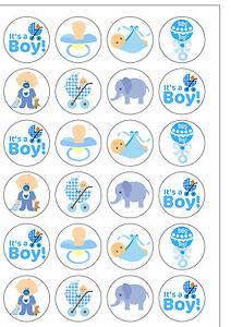 baby shower cake toppers boy 24 pre cut baby boy edible wafer paper cake cupcake topper 1439