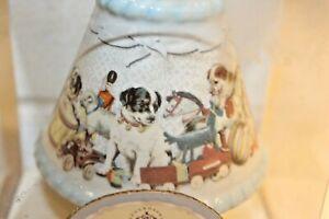 Baby Gund Blue Puppies ceramic 4 inch child's Night Light Shade Plug in NEW Lite