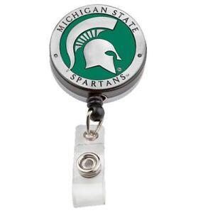 Michigan State pewter retractable badge reel