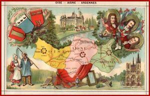 OISE-AISNE-ARDENNE-Blasons-gravure-departement-de-1850