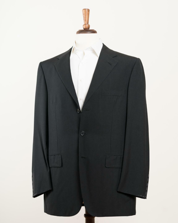 Tincati von D'Azenza black Gestreift Super 130 Wolle 3 Knopf Anzug 54R It 44R