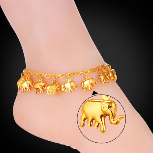 Cute Elephant Charms Anklets 18K Gold //Platinum Plated Ankle Chains Foot Jewelry