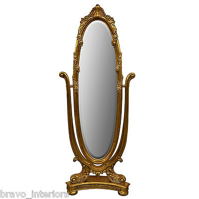 "Dressing Mirror 74"" Gold leafed On Stand Handmade Free Shipping New"