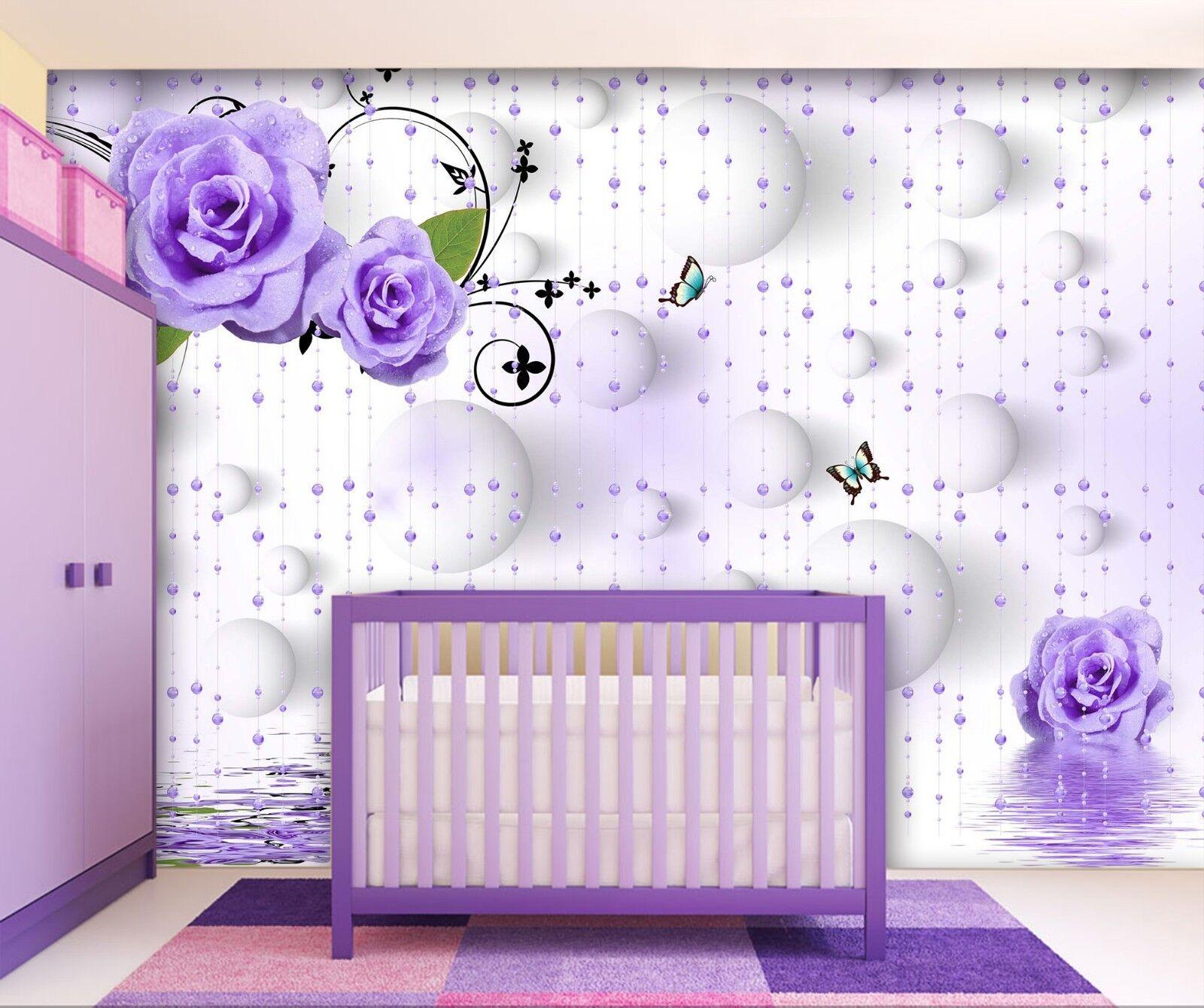 3D Flower Butterfly 88 Wallpaper Mural Wall Print Wall Wallpaper Murals US Lemon