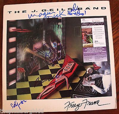 RARE J. GEILS BAND X 5 SIGNED FREEZE FRAME LP COVER CERTIFIED BY JSA SWEET PSA