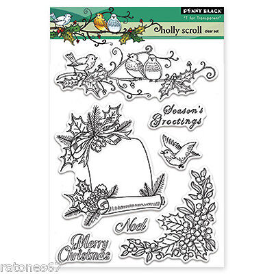 New Penny Black HOLLY JOLLY Clear Stamps Christmas Snowman Sled Tree Mice Hedgie