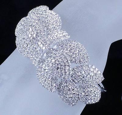 SUNFLOWER BRIDAL AUSTRIAN CRYSTAL BANGLE BRACELET CUFF SILVER WEDDING B12116