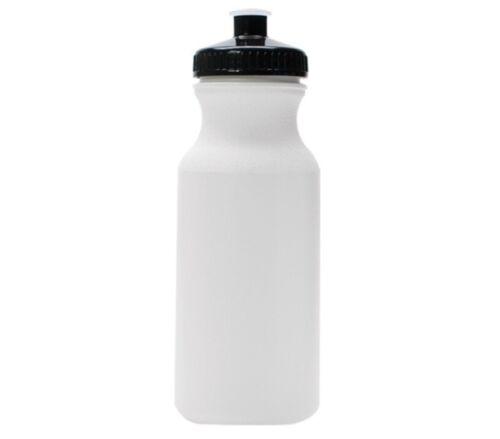 100 Bulk Pack 20 oz environ 566.98 g bouteilles d/'eau-Bouteille Blanc Avec Noir Couvercles Usa Made