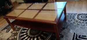 Table basse vitrée rectangulaire