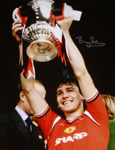 """BRYAN ROBSON SIGNED MANCHESTER UNITED FA CUP FINAL 16""""x12"""" PHOTO PROOF FOOTBALL"""