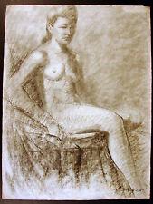 Grand dessin fusain / papier vergé XIX Nue 2 académique signé Soyer 63 x 49 cm