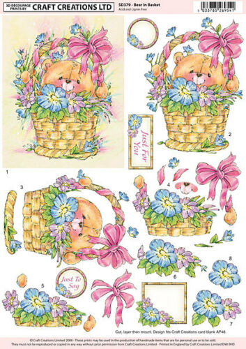 Creación De Arte Decoupage no Die Cut Oso en cesta para tarjetas /& Craft
