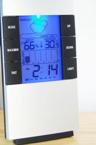 Digital Batterie Réveil//station météo avec température idéal voyage Horloge