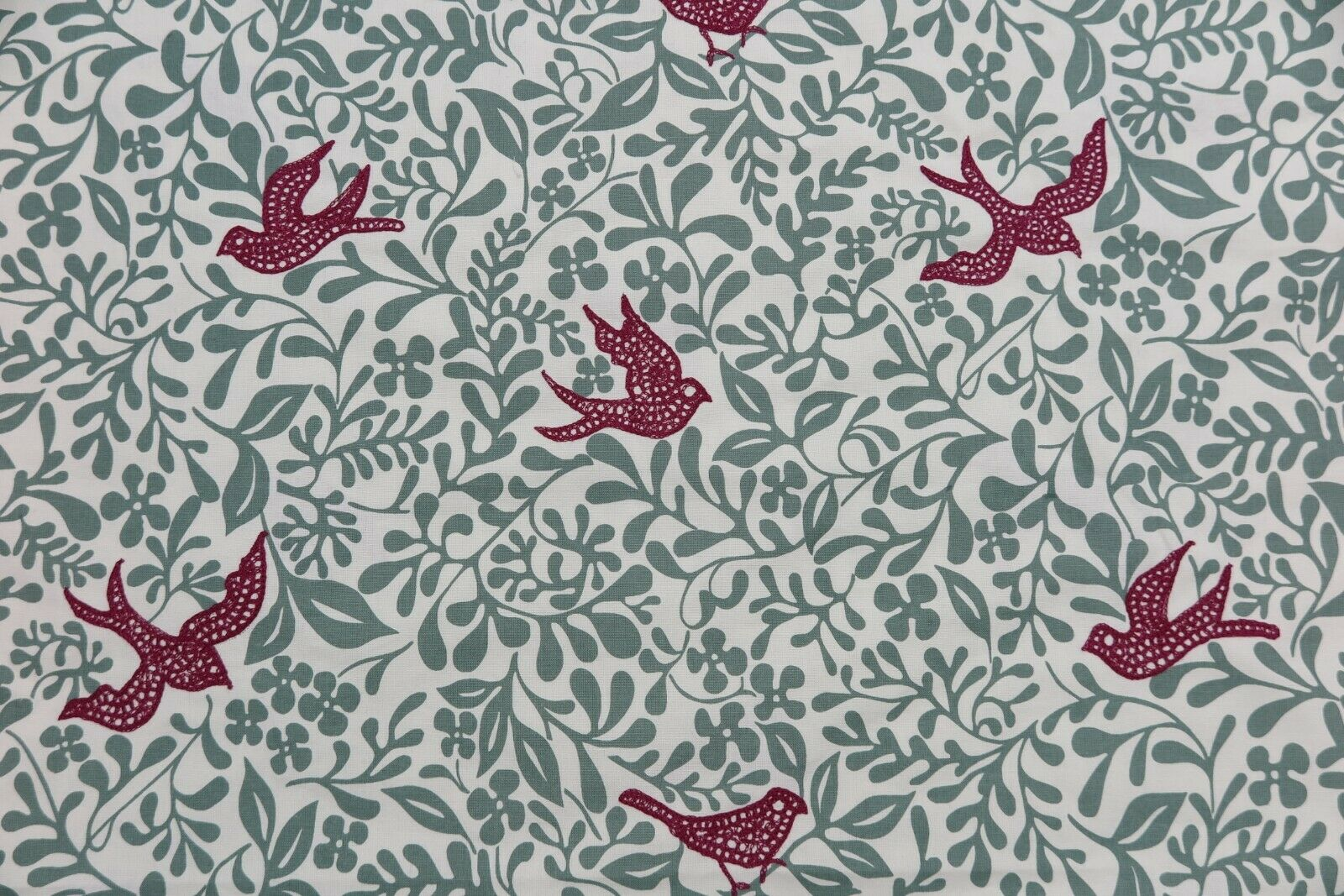SANDERSON CURTAIN FABRIC DESIGN  Larksong  3.6 METRES SLATE BERRY EMBROIDErot