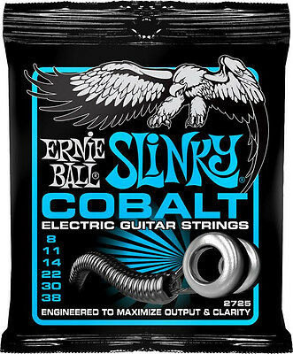 Ernie Ball 2725 Cobalt Extra Slinky Electric Guitar Strings 8-38 Free US Ship!