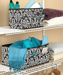 Image Is Loading 2 Pc Pocketed Fabric Damask Collapsible Storage Bins