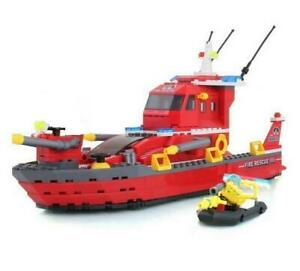 Fire-Rescue-Ship-amp-Boat-Custom-Lego-Set