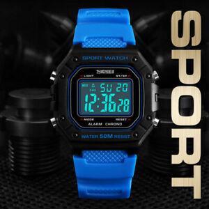 SKMEI-Men-039-s-Military-Digital-LED-Sport-Alarm-Chrono-Calendar-Square-Wrist-Watch