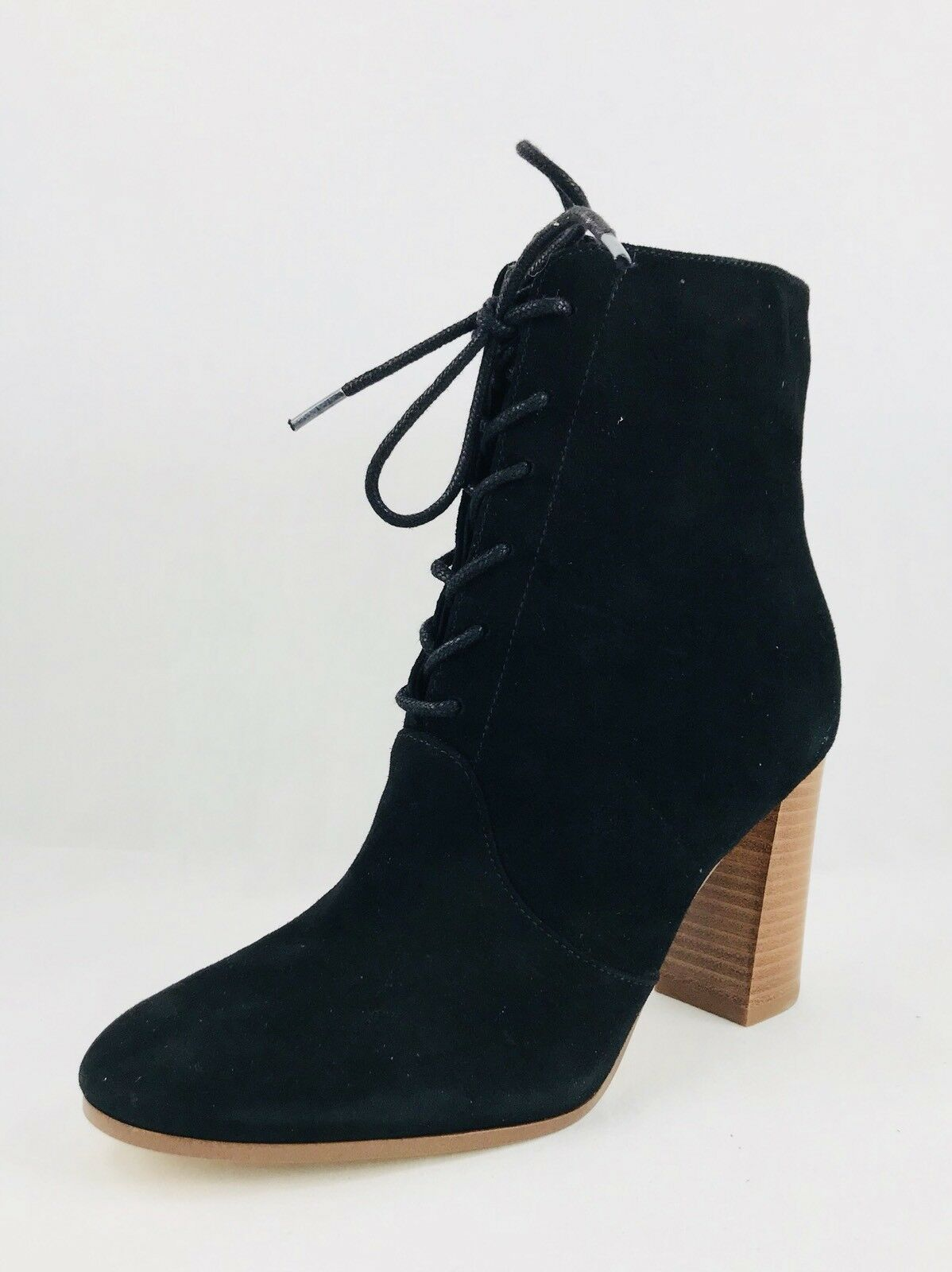 Marc Fisher Edina Block Heel Lace Up Suede Ankle Booties Black Size 6