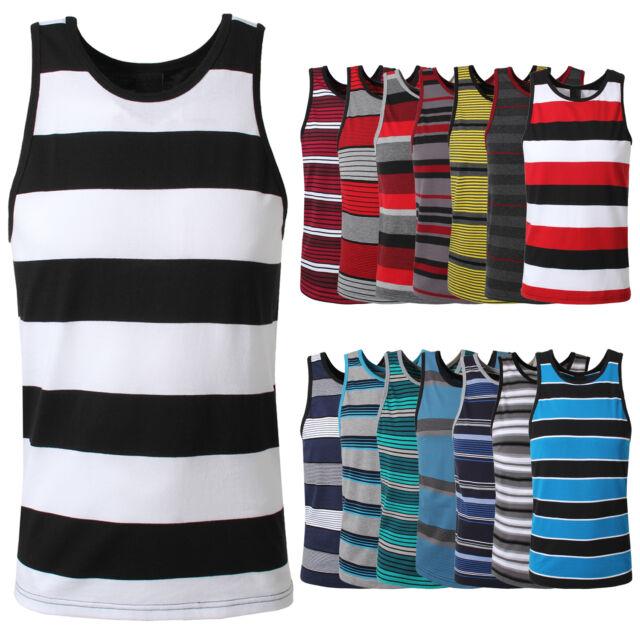 NE PEOPLE Sleeveless Multi Colored Striped Mens Tank Top 15 Colors NEMT25