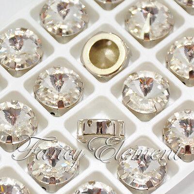 24pcs Glass Rivoli 1122 14mm Crystal Mix Color Metal Plate Sew On Rhinestones