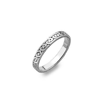 Celtic Knot Wedding Ring Sterling Silver 925 Hallmark Size J Q