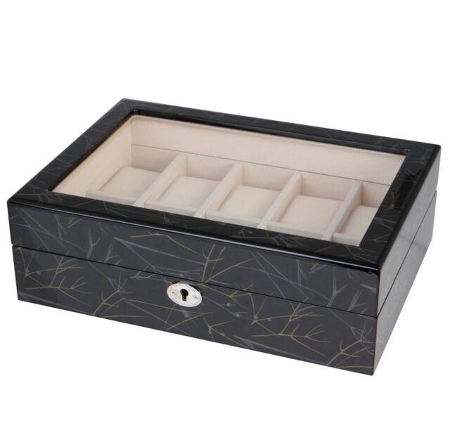 Uhrenbox aus Holz 10 Uhren Sichtfenster florales Design Uhrenschatulle B-Ware