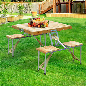 portable folding junior picnic table wood outdoor travel camping table new ebay. Black Bedroom Furniture Sets. Home Design Ideas