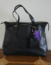 RALPH LAUREN COLLECTION LARGE RL SCROLL LEATHER TOTE BAG IN BLACK