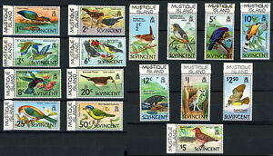 St-Vincent-Bird-Stamps-w-Mustique-Is-Printed-in-Selvedge-1970-Scott-279-294