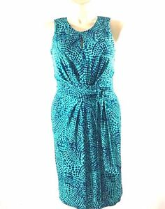 Issa-London-Dress-Banana-Republic-6-M-Turquoise-Green-Dot-Keyhole-Pleat-Knit-LN