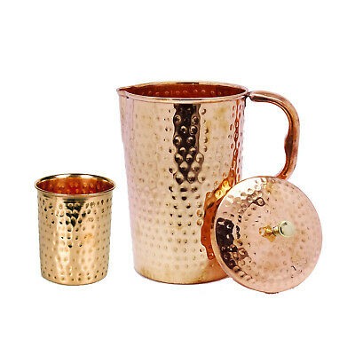 2X PURE COPPER HAMMERED HANDMADE JUG//PITCHER 1.5L WITH AYURVEDIC BENEFITS