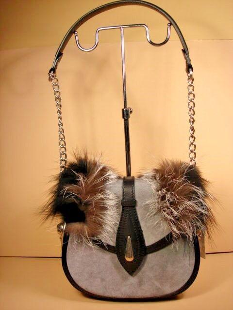 Alexander Mcqueen Skull Grey Suede Leather Fur Handbag Shoulder Bag Purse Ebay