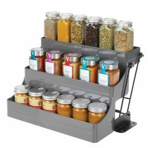 mDesign 3 Tier Pull Down Spice Rack, Storage Shelf Organizer - Gray/Black