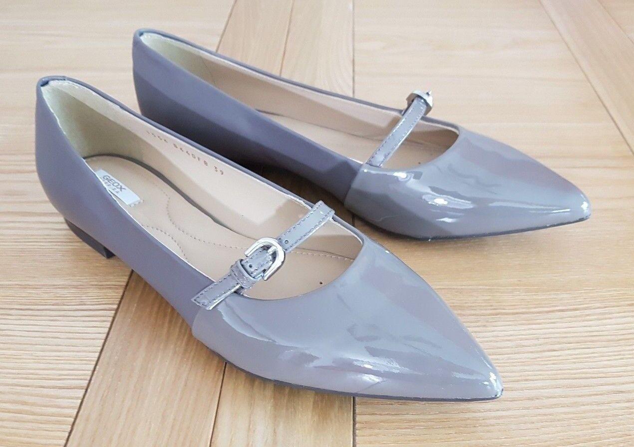Geox Rhosyn B Damenschuhe Respira Pointed Toe Formal Ballet Pumps Flat - Taupe - NEU