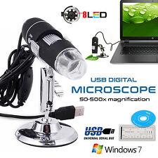50-500X USB Microscope 8 LED Digital Endoscope Magnifier Camera Black New Stock