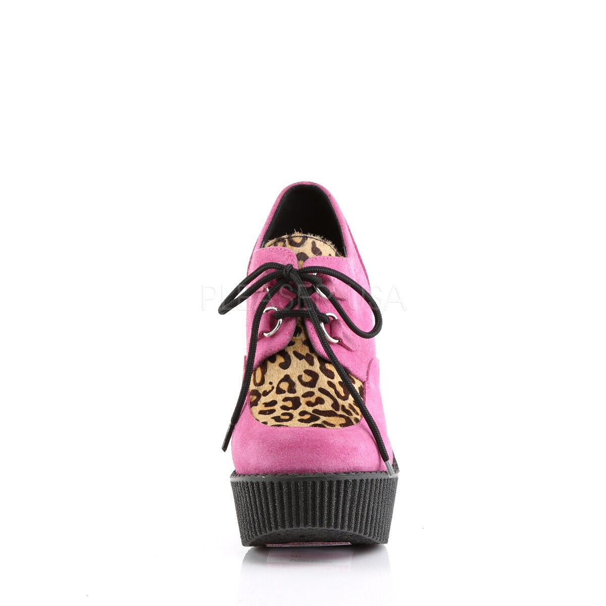 DEMONIA CREEPER-304 Damens Hot Pink & Leopard Wedge Platform Creepers Schuhes