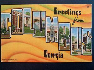 Linen-Postcard-Greetings-from-COLUMBUS-Georgia-GA-Large-Letter